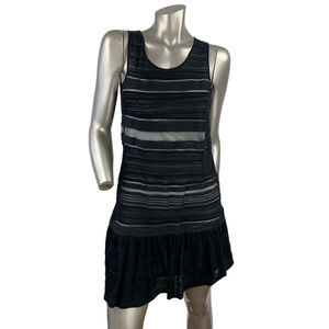 Theory Striped Ruched Tank Shift Dress Small